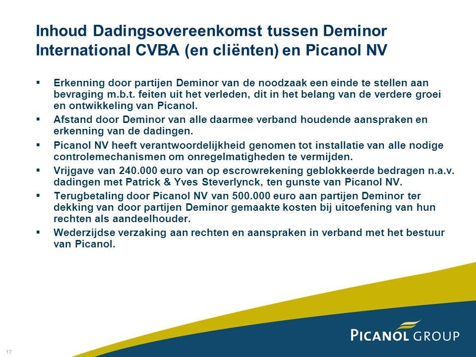 17 Inhoud Dadingsovereenkomst tussen Deminor International CVBA (en cliënten) en Picanol NV  Erkenning door partijen Deminor van de noodzaak een eind