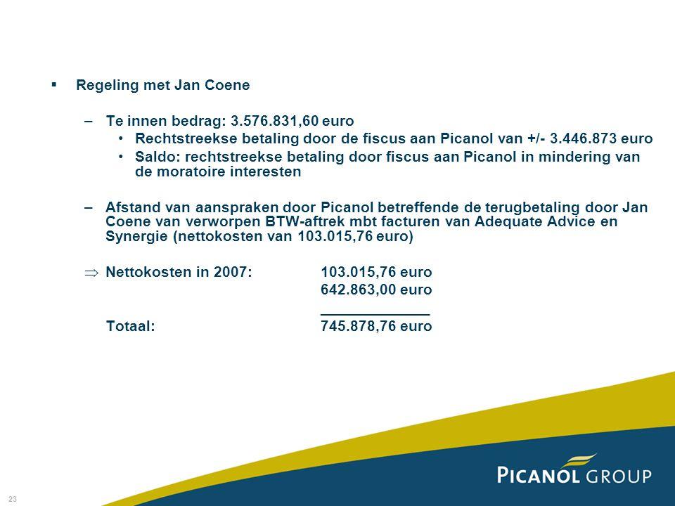 23  Regeling met Jan Coene –Te innen bedrag: 3.576.831,60 euro Rechtstreekse betaling door de fiscus aan Picanol van +/- 3.446.873 euro Saldo: rechts
