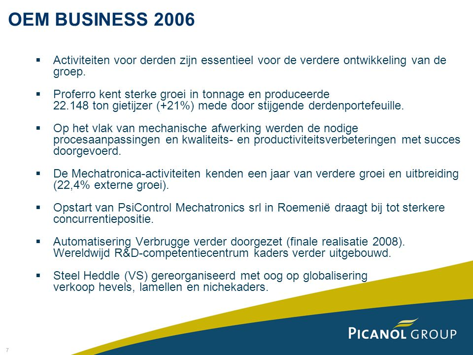 28 Kerncijfers (in '000 euro) 20062005 Omzet324.566302.118 Bedrijfswinst6.826-5.288 Financiële resultaten-851138 Uitzonderlijke resultaten-1.601-1.625 Belastingen-40-3.191 Winst van het boekjaar4.334-9.966 RESULTATENREKENING PICANOL NV