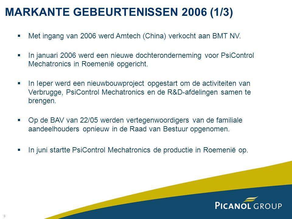 8 MARKANTE GEBEURTENISSEN 2006 (1/3)  Met ingang van 2006 werd Amtech (China) verkocht aan BMT NV.  In januari 2006 werd een nieuwe dochterondernemi