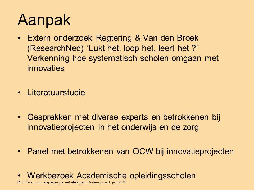 Ruim baan voor stapsgewijze verbeteringen, Onderwijsraad, juni 2012 Aanpak Extern onderzoek Regtering & Van den Broek (ResearchNed) 'Lukt het, loop het, leert het ?' Verkenning hoe systematisch scholen omgaan met innovaties Literatuurstudie Gesprekken met diverse experts en betrokkenen bij innovatieprojecten in het onderwijs en de zorg Panel met betrokkenen van OCW bij innovatieprojecten Werkbezoek Academische opleidingsscholen