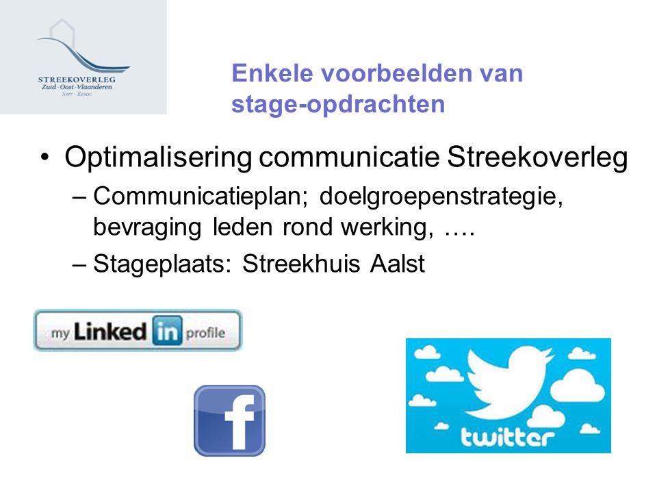 Enkele voorbeelden van stage-opdrachten Optimalisering communicatie Streekoverleg –Communicatieplan; doelgroepenstrategie, bevraging leden rond werking, ….