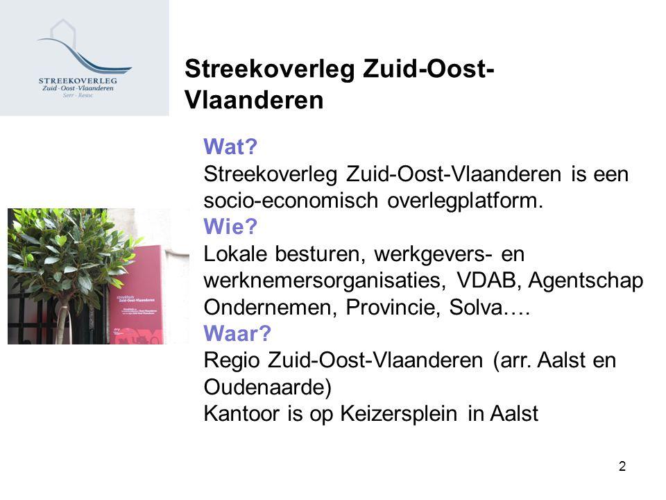 Streekoverleg Zuid-Oost- Vlaanderen Wat? Streekoverleg Zuid-Oost-Vlaanderen is een socio-economisch overlegplatform. Wie? Lokale besturen, werkgevers-