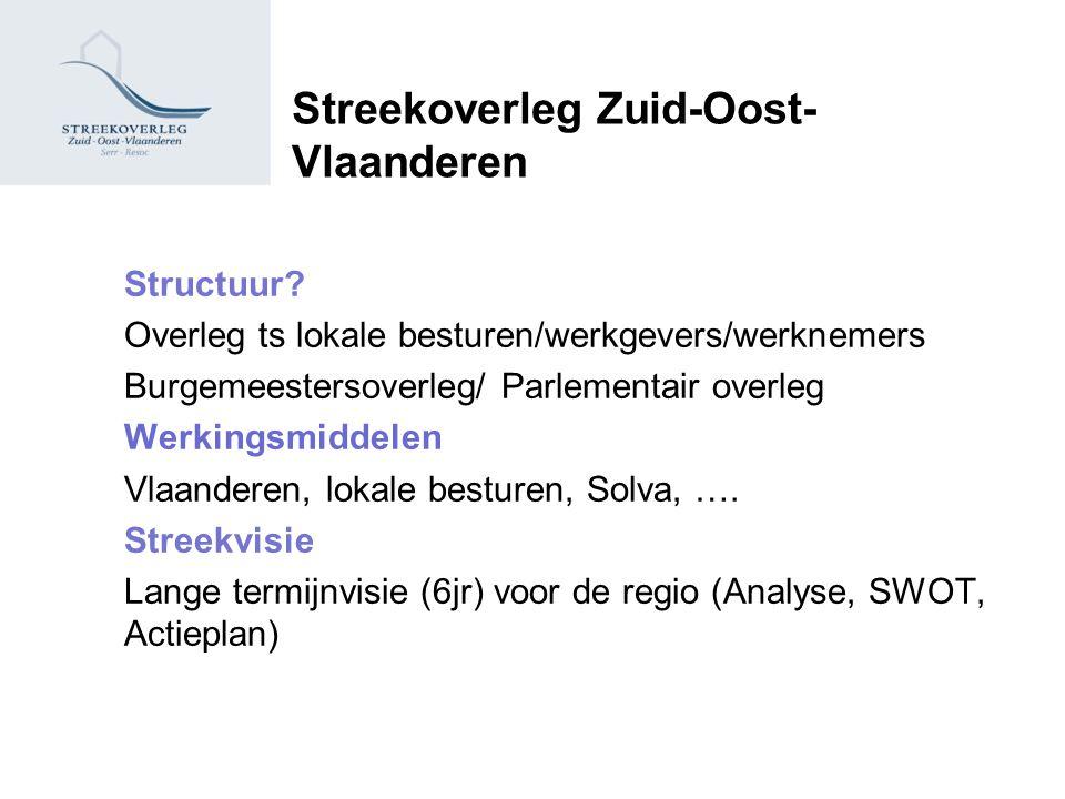 Streekoverleg Zuid-Oost- Vlaanderen Structuur? Overleg ts lokale besturen/werkgevers/werknemers Burgemeestersoverleg/ Parlementair overleg Werkingsmid