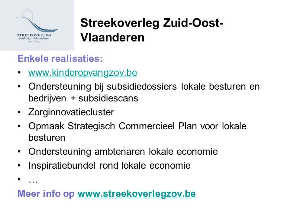 Streekoverleg Zuid-Oost- Vlaanderen Enkele realisaties: www.kinderopvangzov.be Ondersteuning bij subsidiedossiers lokale besturen en bedrijven + subsi