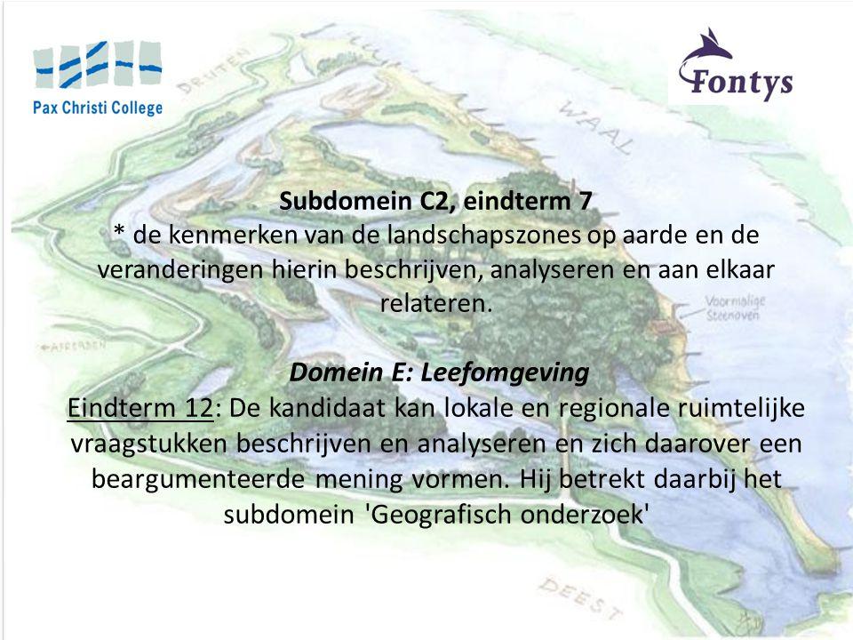 Subdomein C2, eindterm 7 * de kenmerken van de landschapszones op aarde en de veranderingen hierin beschrijven, analyseren en aan elkaar relateren.