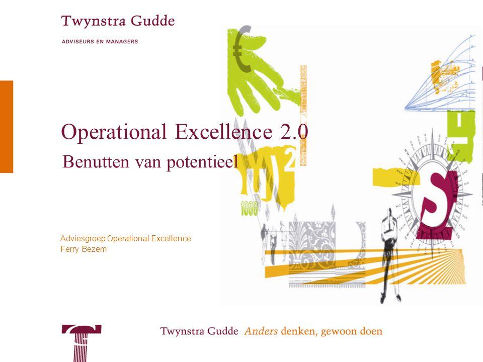 © Twynstra Gudde Operational Excellence 2.0 2 Operational Excellence Praktijk van 2010 –Veel ondernemingen noemen Operational Excellence expliciet in hun strategie –Helaas: weinig geven er invulling aan of men heeft een beperkte scope –Gaat alleen over procesoptimalisatie, niet over de organisatie –Intern gericht, niet klantgericht –Geldt alleen voor de operatie, niet voor commercie –Gericht op 'harde' proceskant, gedragsverandering moet 'vanzelf' volgen –Operational Excellence is een project, niet van de lijnorganisatie –Wordt ingevuld met een methode of concept: lean-trainingen, STP, etc –Oorzaken: –Onvoldoende kennis van en ervaring om het concept Operational Excellence binnen de gehele organisatie betekenis te geven –Onvoldoende vaardigheden in veranderen en implementeren