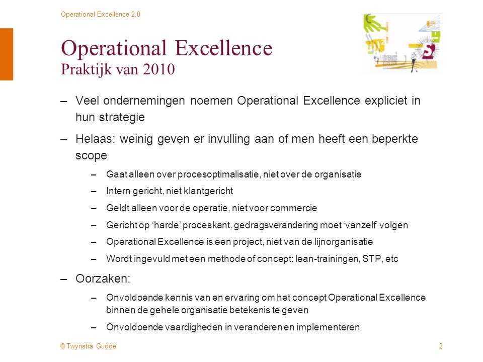 © Twynstra Gudde Operational Excellence 2.0 3 Operational Excellence Praktijk van 2010 De huidige manier van invulling van het begrip Operational Excellence zorgt voornamelijk voor realisatie van quick wins en tijdelijke resultaten door middel van veranderingen in proces-stappen en methodisch werken.