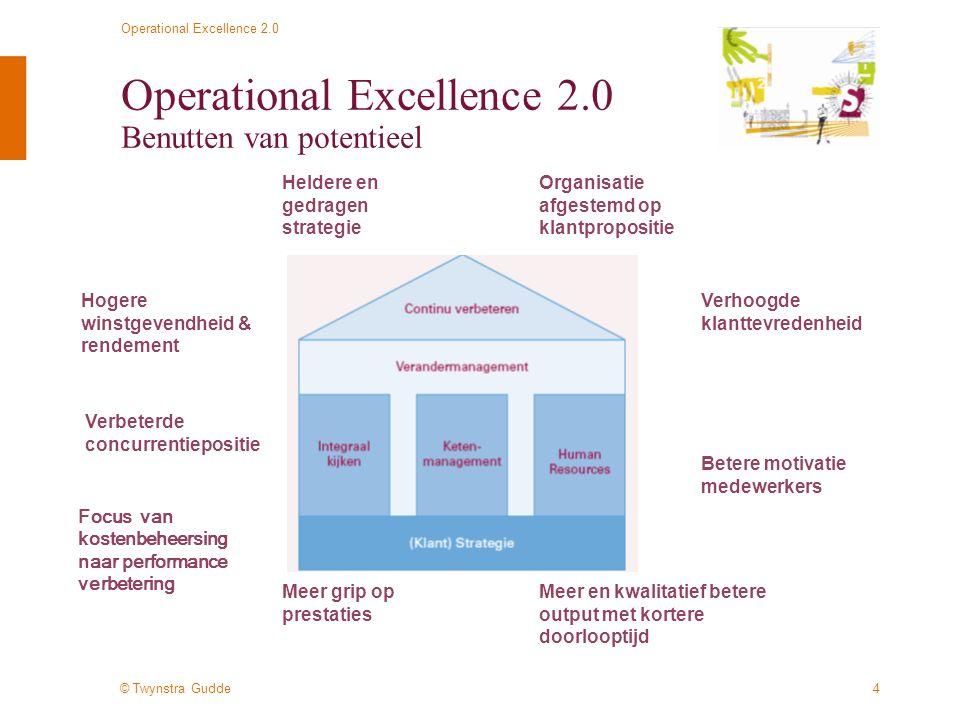 © Twynstra Gudde Operational Excellence 2.0 5 Operational Excellence 2.0 De 6 bouwstenen van Operational Excellence 2.0 Operational Excellence 2.0 is het vermogen om een effectieve en efficiënte waardeketen te realiseren door middel van samenhang in processen, (klant-) strategie, organisatie, systemen, HRM & management (-stijl).
