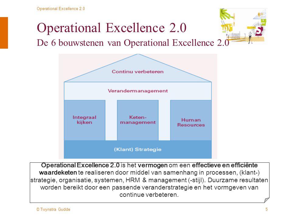 © Twynstra Gudde Operational Excellence 2.0 16 Operational Excellence 2.0 Verandermanagement is balanceren Een effectieve verandering vraagt een doordachte aanpak die aansluit op de ambitie, de huidige situatie, de organisatie, ervaringen etc: Quick winsStructurele verbetering Top-downBottom-up Intern gerichtExtern gericht OntwerpbenaderingOntwikkelbenadering PilotBrede aanpak StandaardMaatwerk ……