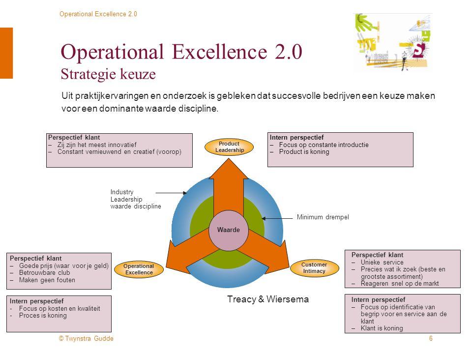 © Twynstra Gudde Operational Excellence 2.0 7 Operational Excellence 2.0 Strategie –Dit betekent: –Keuze voor primaire waarde discipline organisatie –Operational Excellence vraagt een nadere uitwerking –Alle bedrijfsonderdelen dezelfde primaire waarde discipline –Keuze voor klantsegmenten –Een strategische leidende keuze voor de gehele organisatie, vertaald voor iedere unit en afdeling binnen hun eigen (unieke) omgeving –En dit betekent dus ook: –Niet alles voor iedere klant willen aanbieden –Grenzen kennen –Maar ook: blijven inspelen op nieuwe ontwikkelingen in de markt