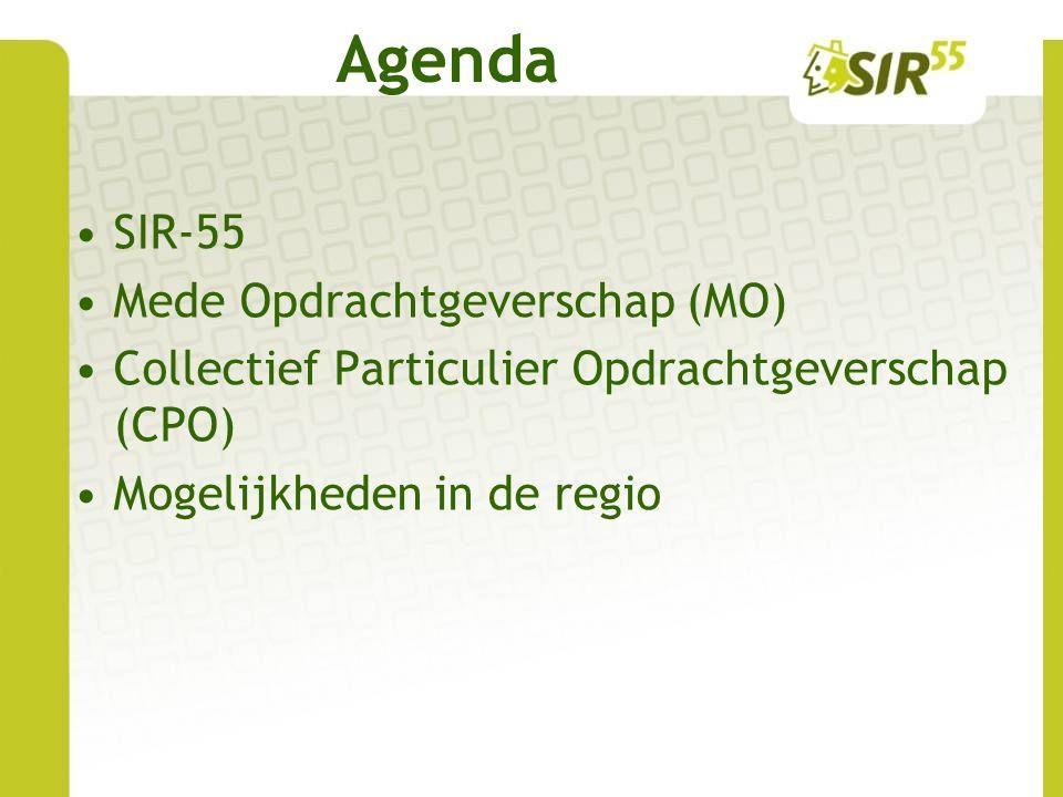 Agenda SIR-55 Mede Opdrachtgeverschap (MO) Collectief Particulier Opdrachtgeverschap (CPO) Mogelijkheden in de regio