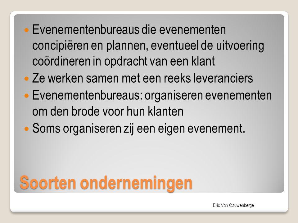 Eric Van Cauwenberge Soorten ondernemingen Evenementenbureaus die evenementen concipiëren en plannen, eventueel de uitvoering coördineren in opdracht
