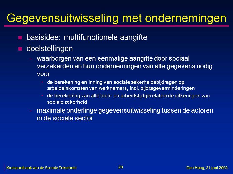 20 Kruispuntbank van de Sociale ZekerheidDen Haag, 21 juni 2005 Gegevensuitwisseling met ondernemingen n basisidee: multifunctionele aangifte n doelst
