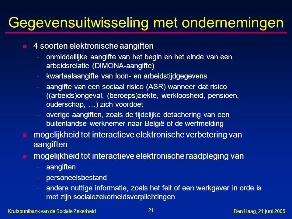 21 Kruispuntbank van de Sociale ZekerheidDen Haag, 21 juni 2005 Gegevensuitwisseling met ondernemingen n 4 soorten elektronische aangiften -onmiddelli