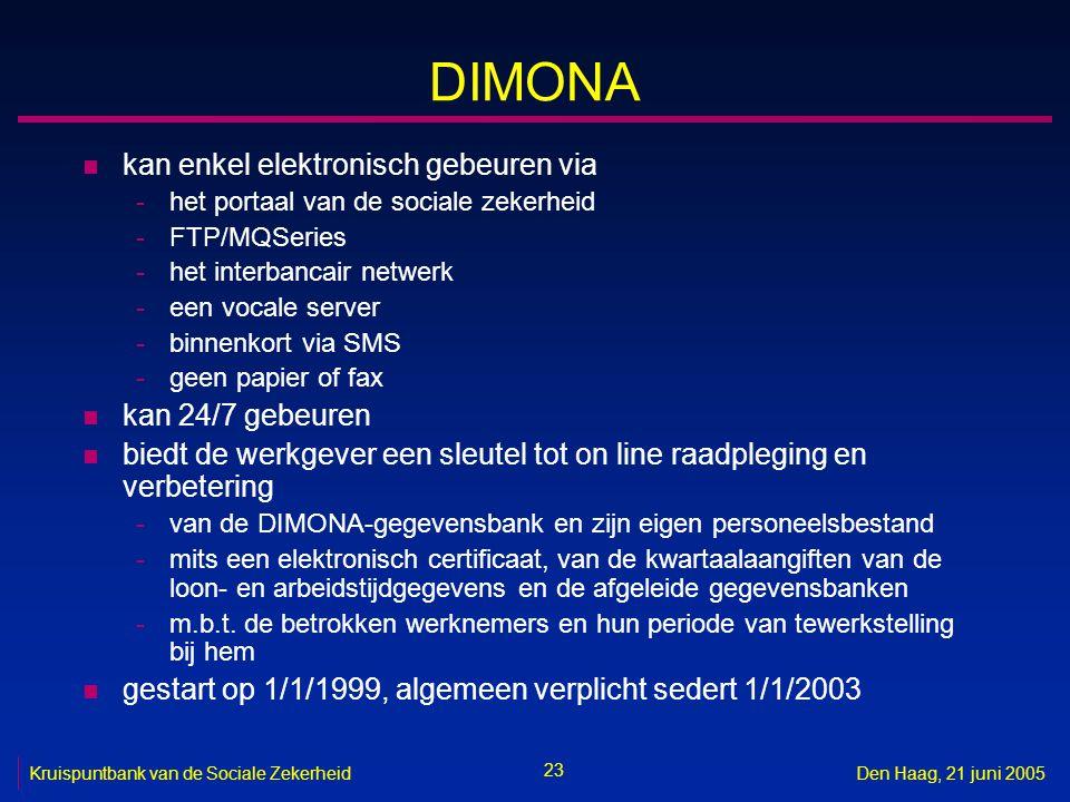 23 Kruispuntbank van de Sociale ZekerheidDen Haag, 21 juni 2005 DIMONA n kan enkel elektronisch gebeuren via -het portaal van de sociale zekerheid -FT