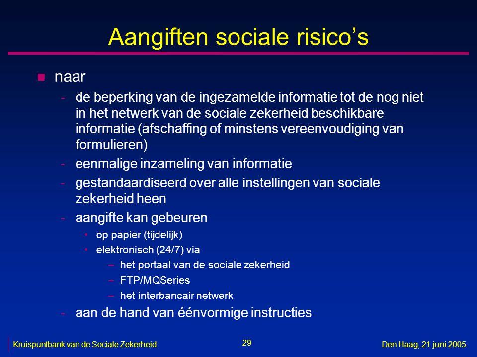 29 Kruispuntbank van de Sociale ZekerheidDen Haag, 21 juni 2005 Aangiften sociale risico's n naar -de beperking van de ingezamelde informatie tot de n