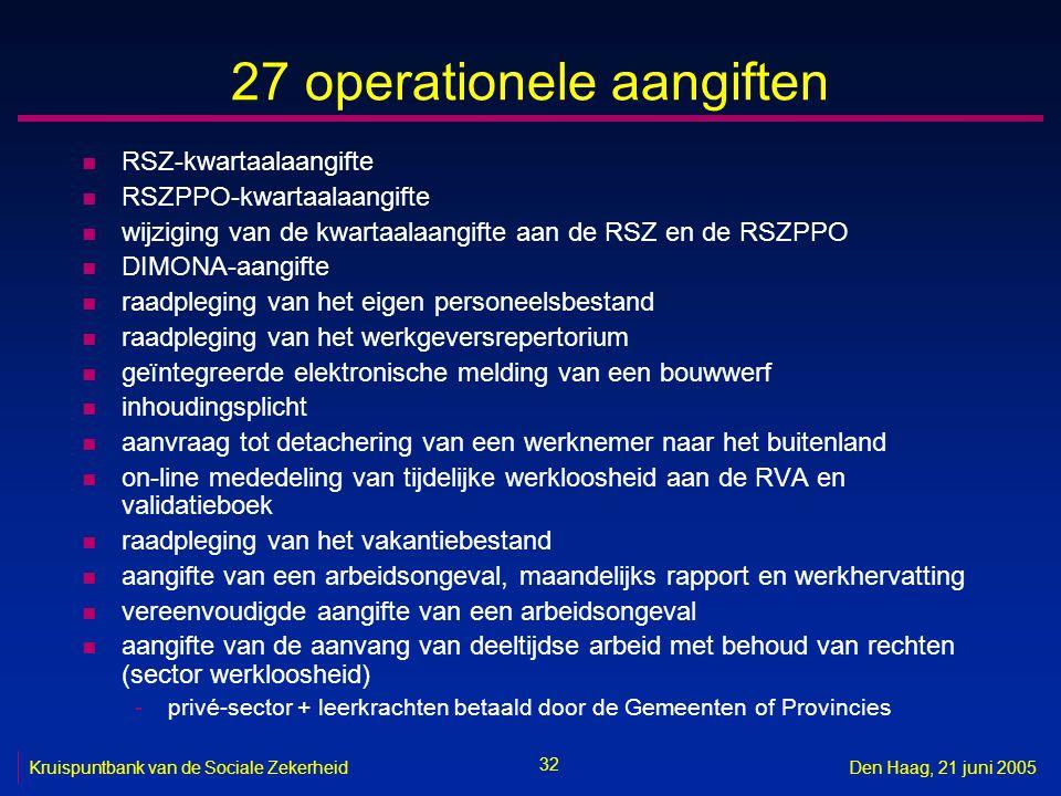 32 Kruispuntbank van de Sociale ZekerheidDen Haag, 21 juni 2005 27 operationele aangiften n RSZ-kwartaalaangifte n RSZPPO-kwartaalaangifte n wijziging