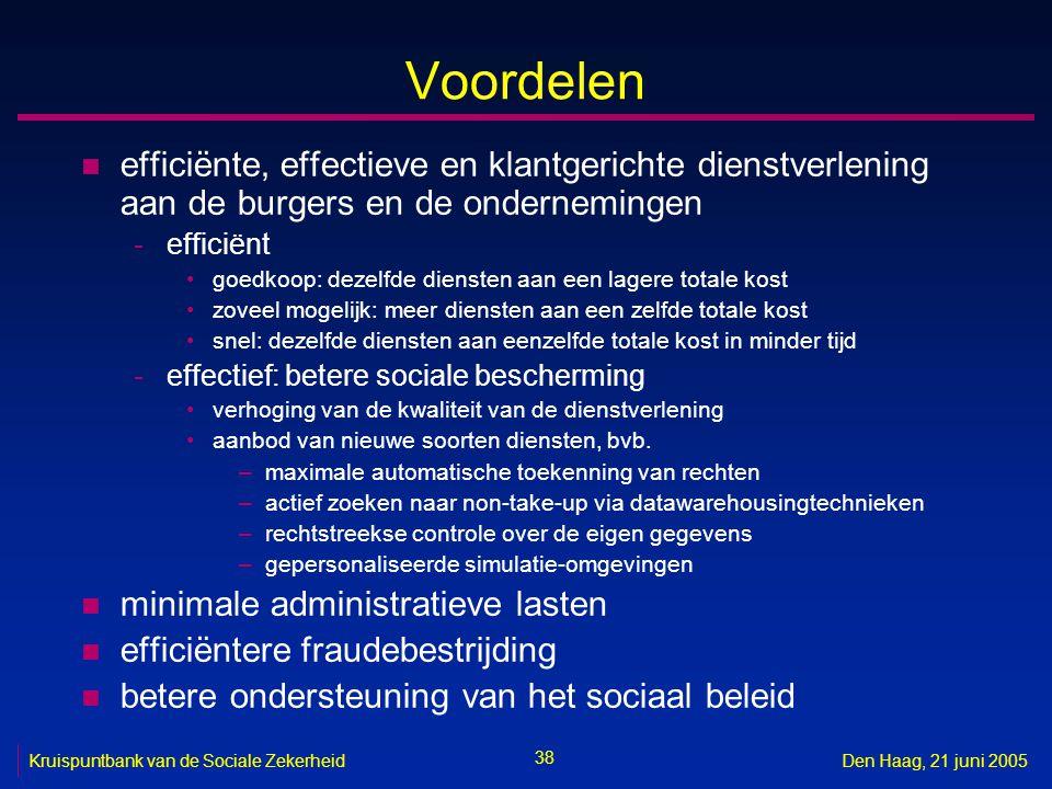 38 Kruispuntbank van de Sociale ZekerheidDen Haag, 21 juni 2005 Voordelen n efficiënte, effectieve en klantgerichte dienstverlening aan de burgers en