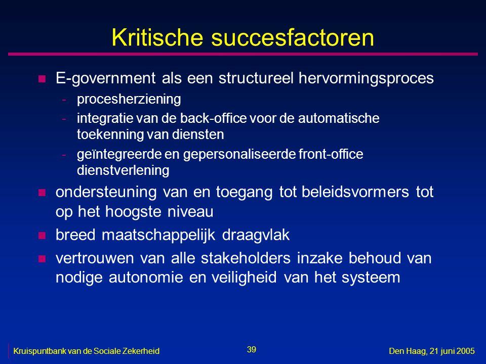 39 Kruispuntbank van de Sociale ZekerheidDen Haag, 21 juni 2005 Kritische succesfactoren n E-government als een structureel hervormingsproces -procesh