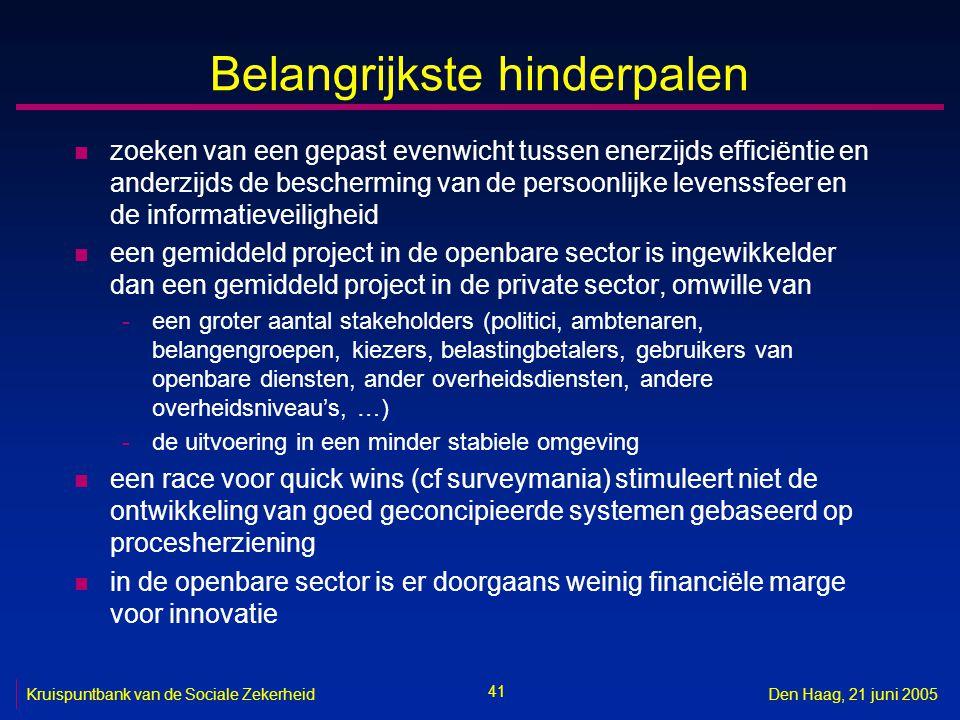 41 Kruispuntbank van de Sociale ZekerheidDen Haag, 21 juni 2005 Belangrijkste hinderpalen n zoeken van een gepast evenwicht tussen enerzijds efficiënt