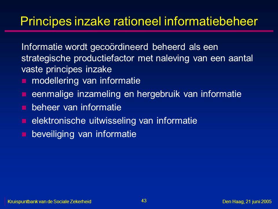 43 Kruispuntbank van de Sociale ZekerheidDen Haag, 21 juni 2005 Principes inzake rationeel informatiebeheer n modellering van informatie n eenmalige i