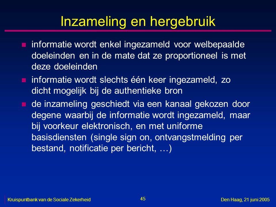 45 Kruispuntbank van de Sociale ZekerheidDen Haag, 21 juni 2005 Inzameling en hergebruik n informatie wordt enkel ingezameld voor welbepaalde doeleind