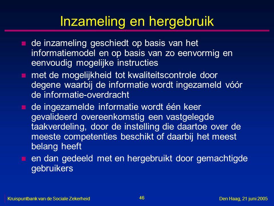 46 Kruispuntbank van de Sociale ZekerheidDen Haag, 21 juni 2005 Inzameling en hergebruik n de inzameling geschiedt op basis van het informatiemodel en