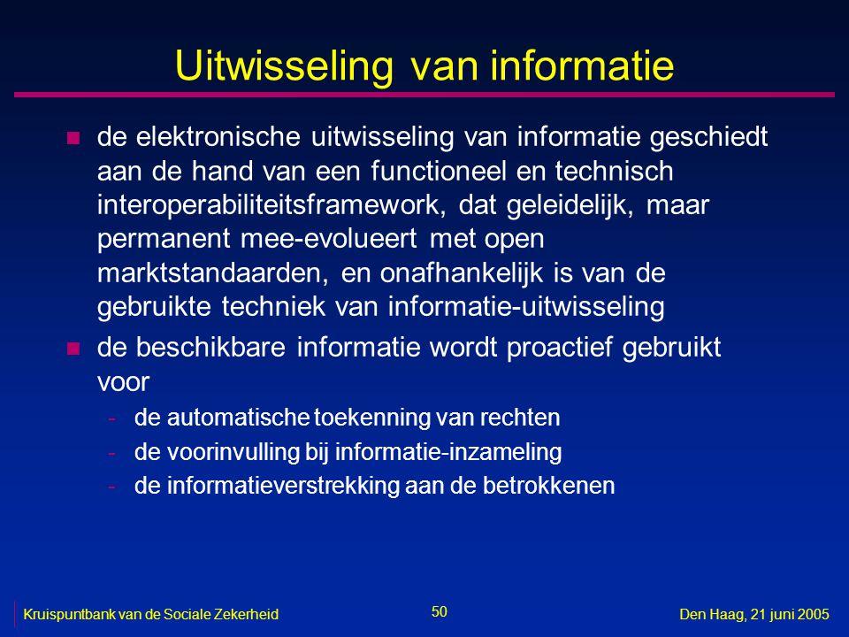 50 Kruispuntbank van de Sociale ZekerheidDen Haag, 21 juni 2005 Uitwisseling van informatie n de elektronische uitwisseling van informatie geschiedt a