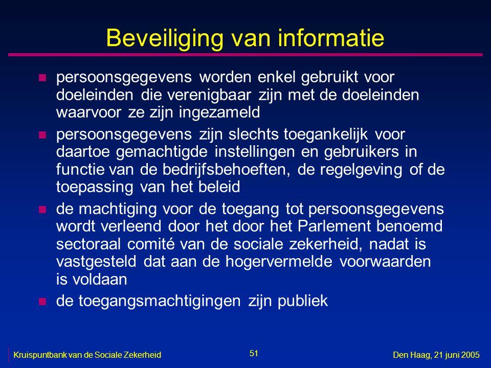 51 Kruispuntbank van de Sociale ZekerheidDen Haag, 21 juni 2005 Beveiliging van informatie n persoonsgegevens worden enkel gebruikt voor doeleinden di