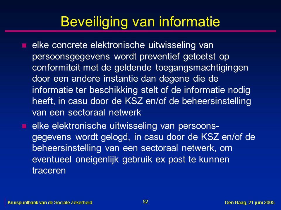 52 Kruispuntbank van de Sociale ZekerheidDen Haag, 21 juni 2005 Beveiliging van informatie n elke concrete elektronische uitwisseling van persoonsgege
