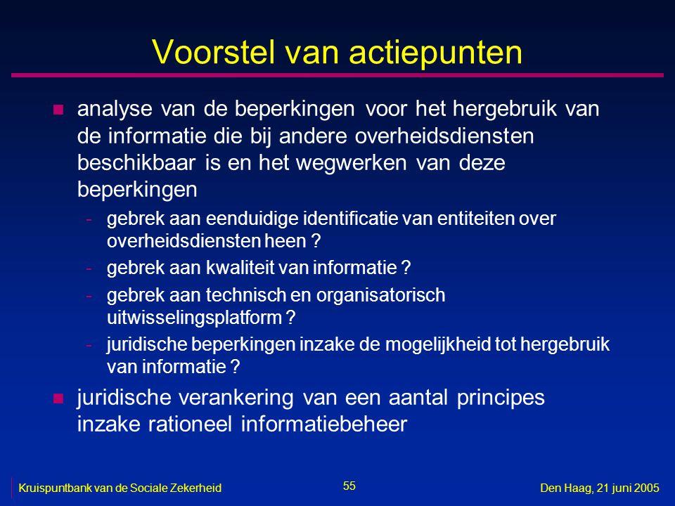55 Kruispuntbank van de Sociale ZekerheidDen Haag, 21 juni 2005 Voorstel van actiepunten n analyse van de beperkingen voor het hergebruik van de infor