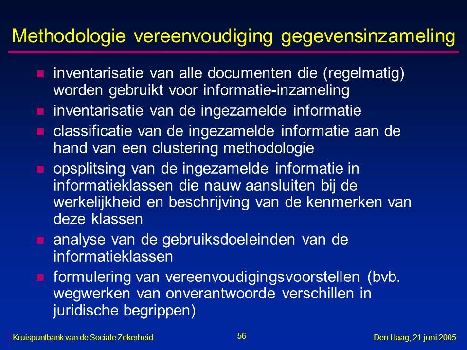 56 Kruispuntbank van de Sociale ZekerheidDen Haag, 21 juni 2005 Methodologie vereenvoudiging gegevensinzameling n inventarisatie van alle documenten d
