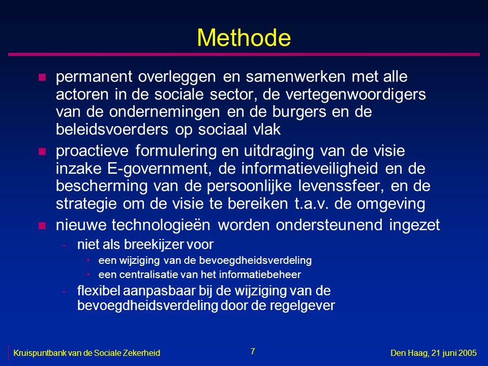 58 Kruispuntbank van de Sociale ZekerheidDen Haag, 21 juni 2005 Methodologie vereenvoudiging gegevensinzameling n afspreken tussen de overheidsdiensten van een onderlinge taakverdeling inzake -gegevensinzameling -gegevensopslag en -beheer -gegevensvalidatie