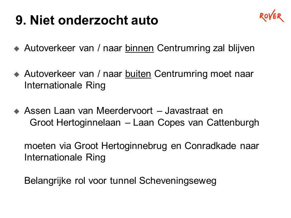 9. Niet onderzocht auto  Autoverkeer van / naar binnen Centrumring zal blijven  Autoverkeer van / naar buiten Centrumring moet naar Internationale R