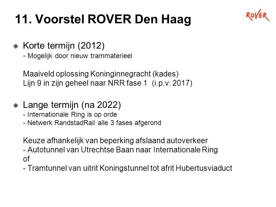 11. Voorstel ROVER Den Haag  Korte termijn (2012) - Mogelijk door nieuw trammaterieel Maaiveld oplossing Koninginnegracht (kades) Lijn 9 in zijn gehe
