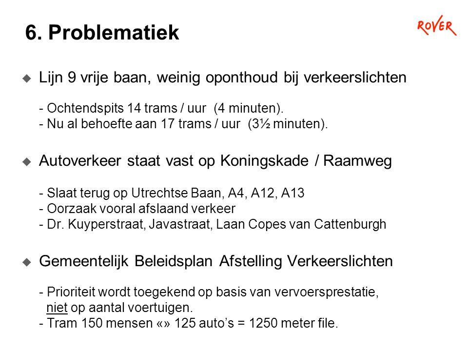 6. Problematiek  Lijn 9 vrije baan, weinig oponthoud bij verkeerslichten - Ochtendspits 14 trams / uur (4 minuten). - Nu al behoefte aan 17 trams / u