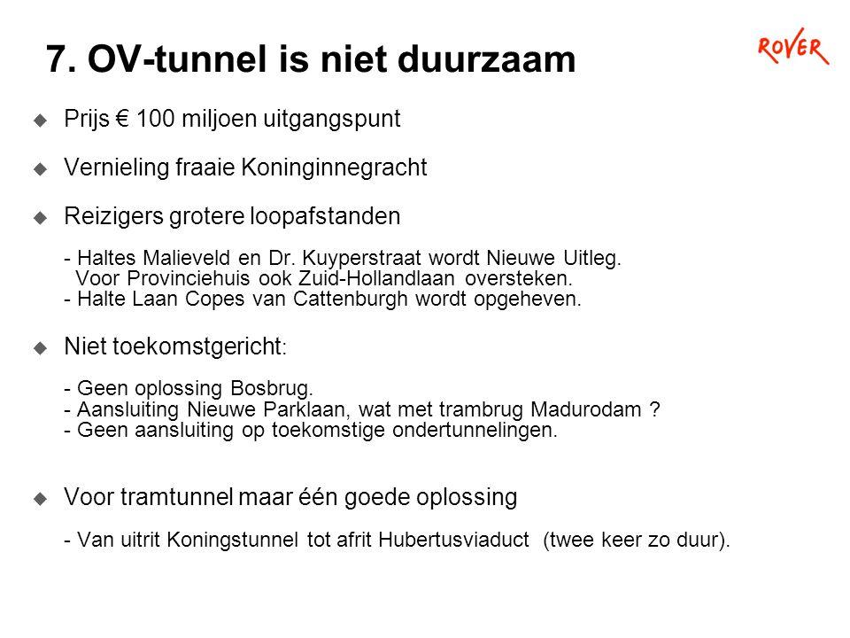 7. OV-tunnel is niet duurzaam  Prijs € 100 miljoen uitgangspunt  Vernieling fraaie Koninginnegracht  Reizigers grotere loopafstanden - Haltes Malie