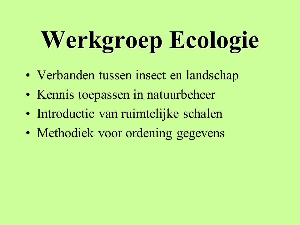 Werkgroep Ecologie Verbanden tussen insect en landschap Kennis toepassen in natuurbeheer Introductie van ruimtelijke schalen Methodiek voor ordening gegevens