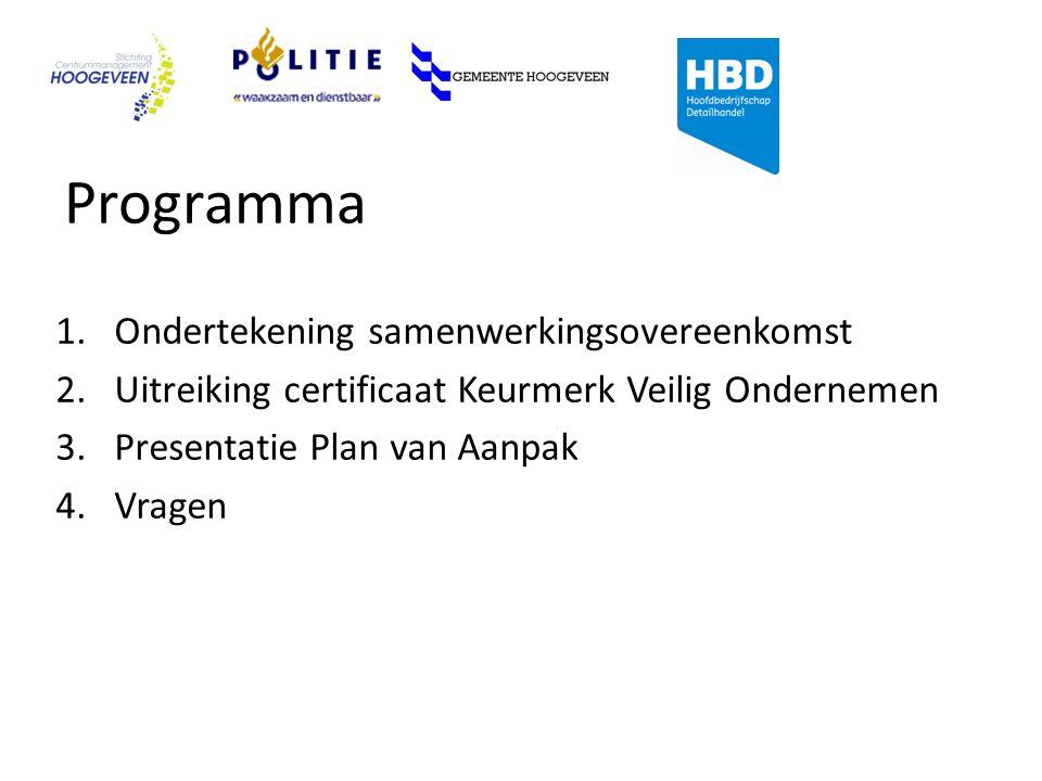 Programma 1.Ondertekening samenwerkingsovereenkomst 2.Uitreiking certificaat Keurmerk Veilig Ondernemen 3.Presentatie Plan van Aanpak 4.Vragen