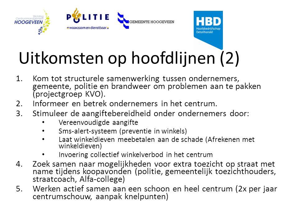Uitkomsten op hoofdlijnen (2) 1.Kom tot structurele samenwerking tussen ondernemers, gemeente, politie en brandweer om problemen aan te pakken (projectgroep KVO).