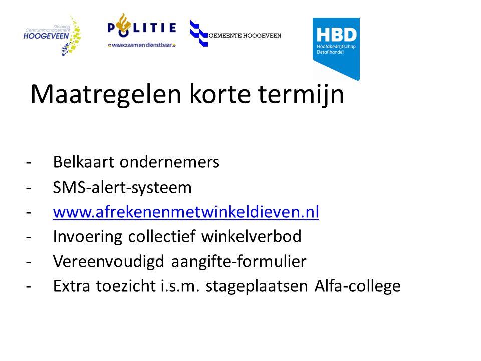 Maatregelen korte termijn -Belkaart ondernemers -SMS-alert-systeem -www.afrekenenmetwinkeldieven.nlwww.afrekenenmetwinkeldieven.nl -Invoering collectief winkelverbod -Vereenvoudigd aangifte-formulier -Extra toezicht i.s.m.
