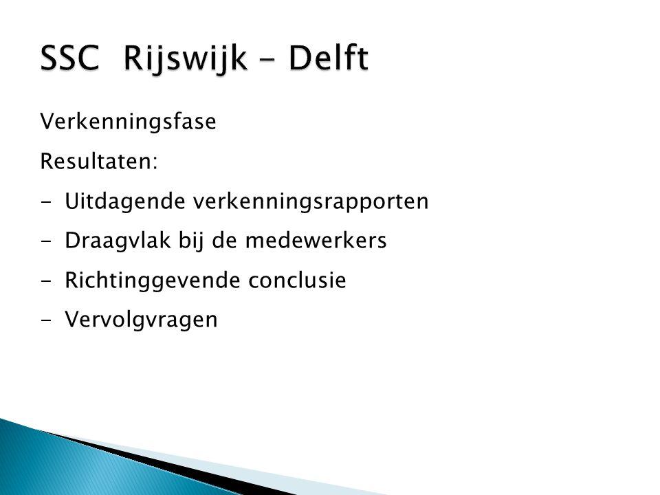 Verkenningsfase Resultaten: -Uitdagende verkenningsrapporten -Draagvlak bij de medewerkers -Richtinggevende conclusie -Vervolgvragen