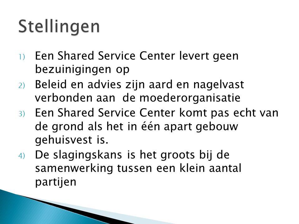 1) Een Shared Service Center levert geen bezuinigingen op 2) Beleid en advies zijn aard en nagelvast verbonden aan de moederorganisatie 3) Een Shared