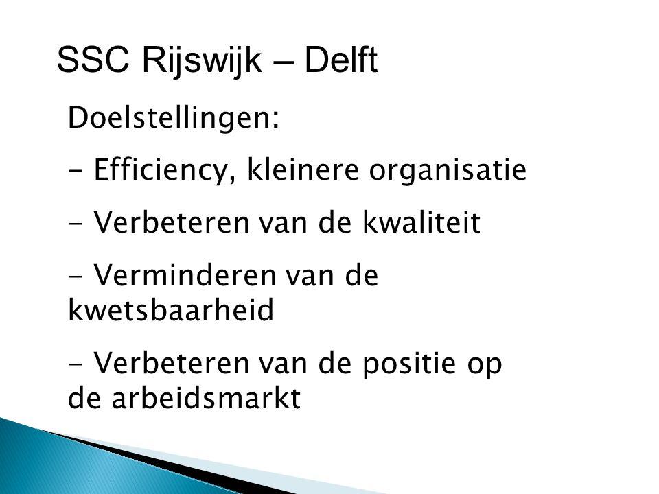 SSC Rijswijk – Delft Doelstellingen: - Efficiency, kleinere organisatie - Verbeteren van de kwaliteit - Verminderen van de kwetsbaarheid - Verbeteren