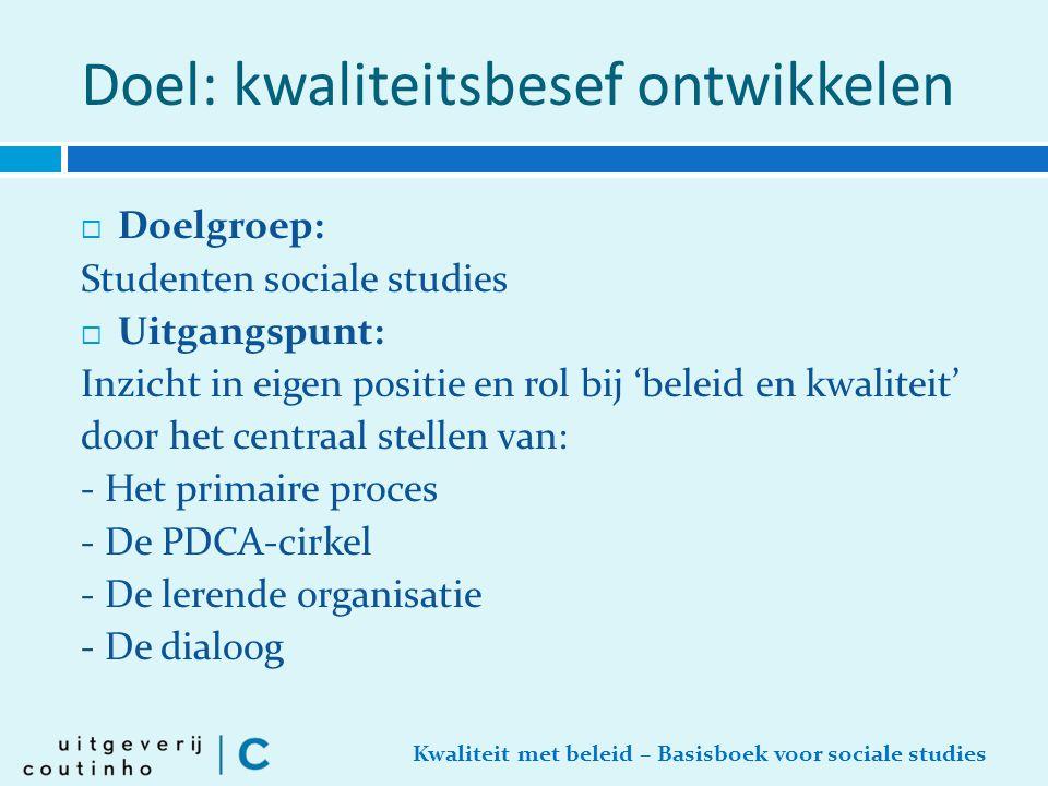 Kwaliteit met beleid – Basisboek voor sociale studies Doel: kwaliteitsbesef ontwikkelen  Doelgroep: Studenten sociale studies  Uitgangspunt: Inzicht