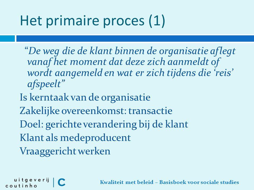"""Kwaliteit met beleid – Basisboek voor sociale studies Het primaire proces (1) """"De weg die de klant binnen de organisatie aflegt vanaf het moment dat d"""