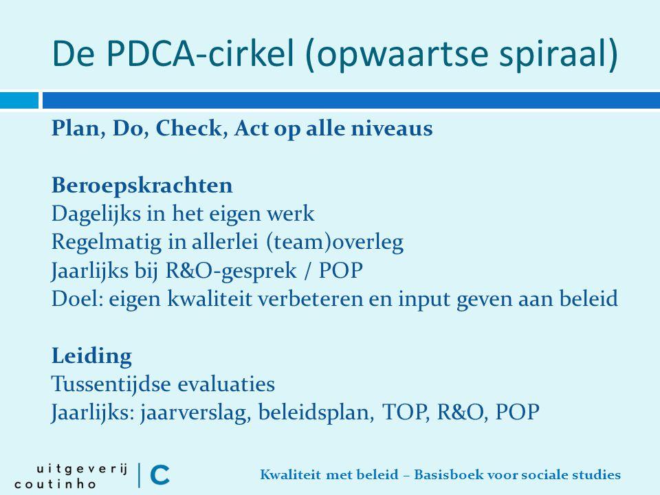 Kwaliteit met beleid – Basisboek voor sociale studies De PDCA-cirkel (opwaartse spiraal) Plan, Do, Check, Act op alle niveaus Beroepskrachten Dagelijk