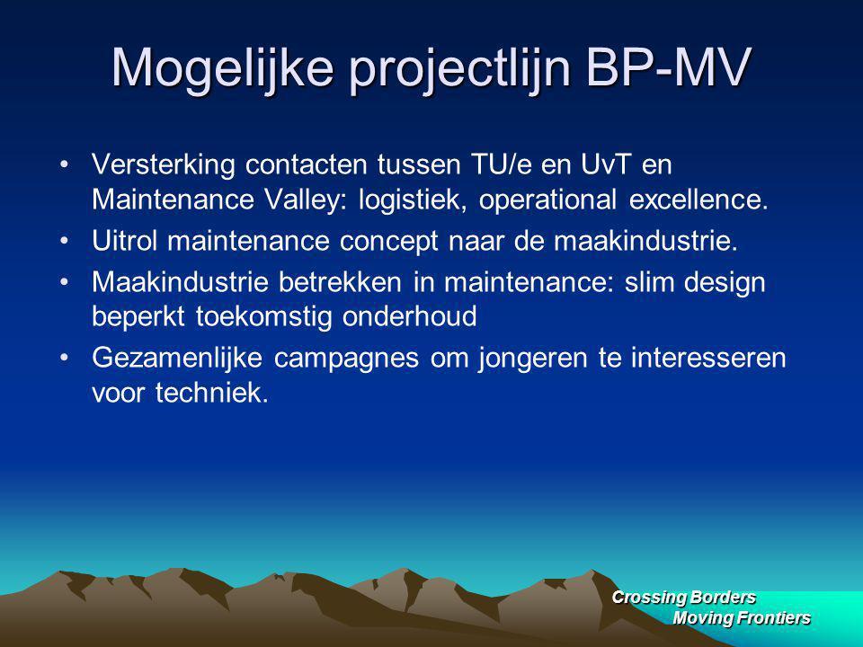 Crossing Borders Moving Frontiers Mogelijke projectlijn BP-MV Versterking contacten tussen TU/e en UvT en Maintenance Valley: logistiek, operational excellence.