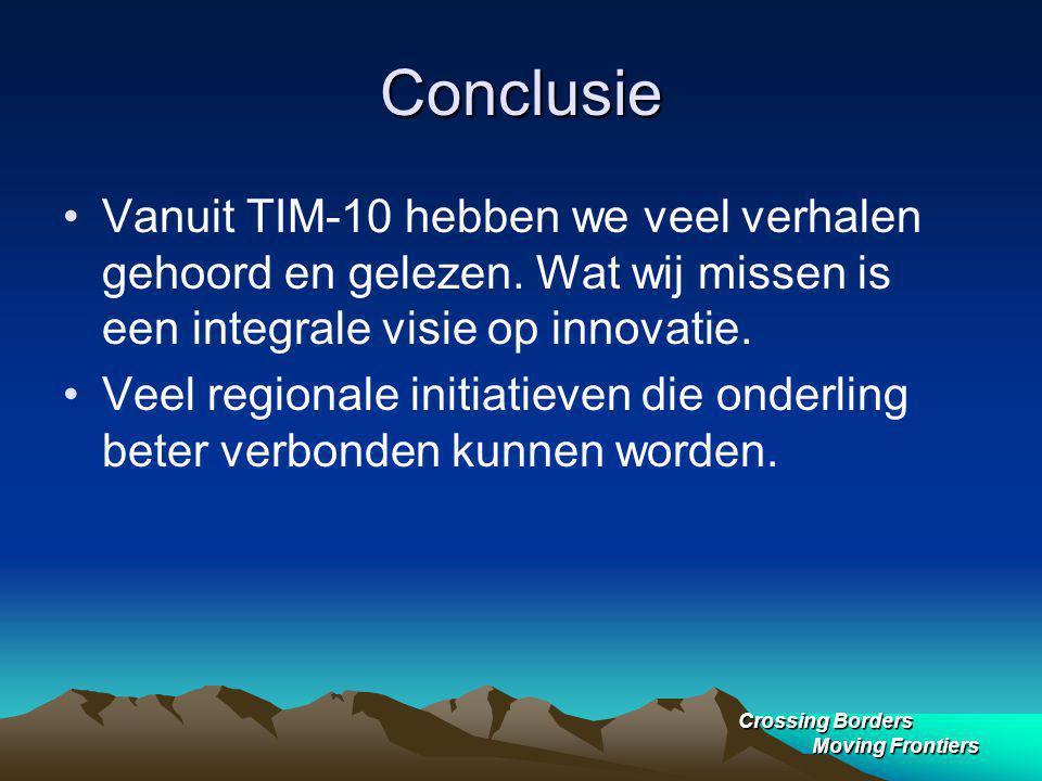Crossing Borders Moving Frontiers Conclusie Vanuit TIM-10 hebben we veel verhalen gehoord en gelezen.